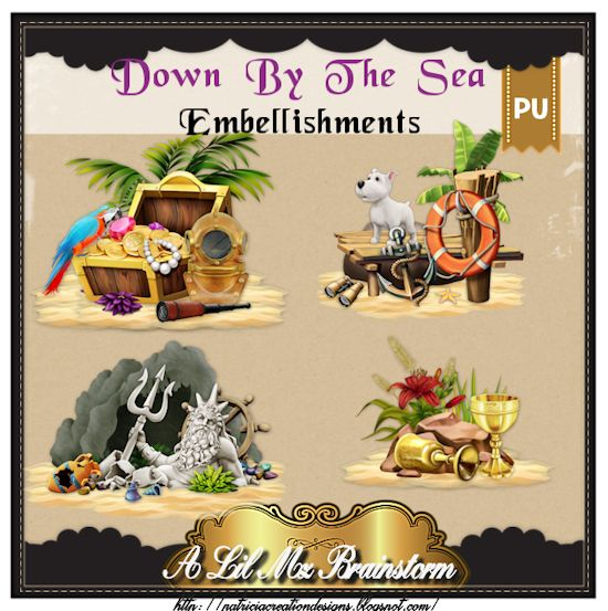 LMB Down By The Sea Embellishments PU